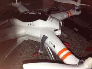 Meet Hal. Hal is a Walkera QR x350 quadcopter. He's got a GoPro camera mount on his 'belly'. This will be great for aerial shots.