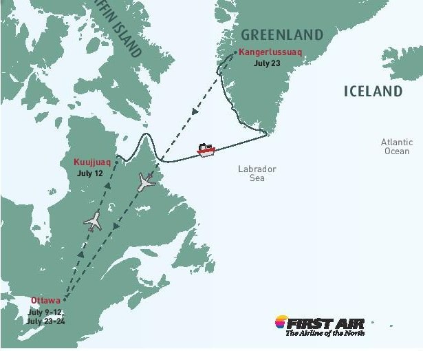 Our planned expedition route that will take us to the coast of Labrador and Greenland.