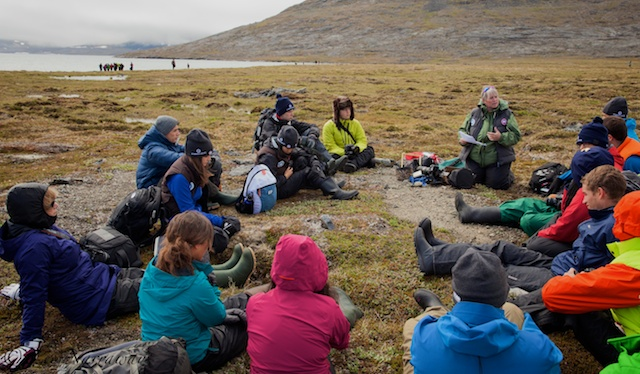 Me, teaching a photography workshop on shore. I wanted to inspire the students to use their images to share their experiences with the world and to share their concerns about the health of the arctic environment and its cultures, with the rest of the world.