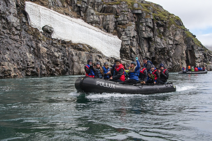 Getting out in zodiacs to explore was one of the huge highlights of the trip for me. I love that the students (and staff) got to see, smell, taste, touch, hear - to experience the north with all of their senses. (photo copyright Shelley L. Ball)