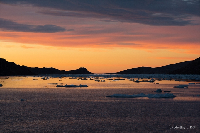 Our arctic sunsets were some of the most spectacular I have ever seen. (photo copyright Shelley L. Ball).
